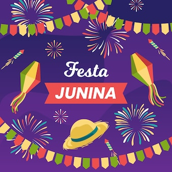 Papier peint design plat festa junina