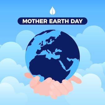 Papier peint design plat jour de la terre mère