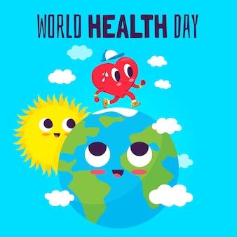 Papier peint design plat journée mondiale de la santé