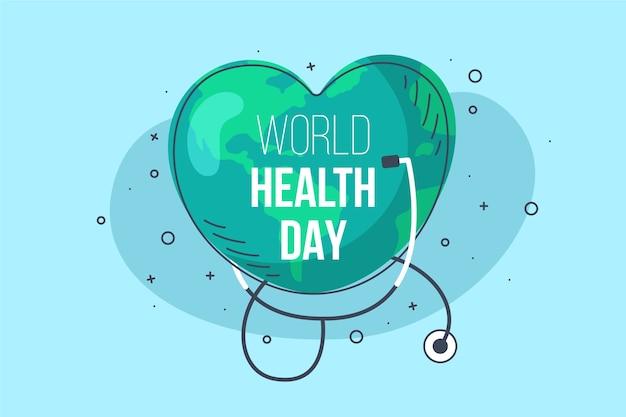 Papier peint design plat de la journée mondiale de la santé