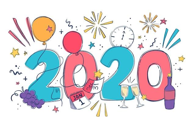 Papier peint design plat nouvel an 2020