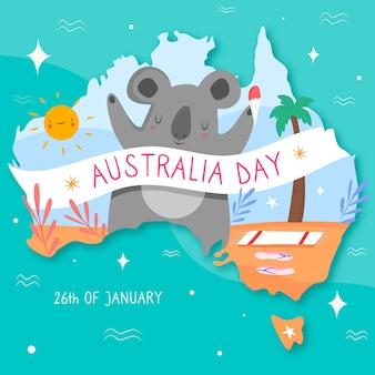 Papier peint du jour de l'australie dessiné à la main