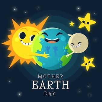 Papier peint du jour de la terre mère dessiné à la main