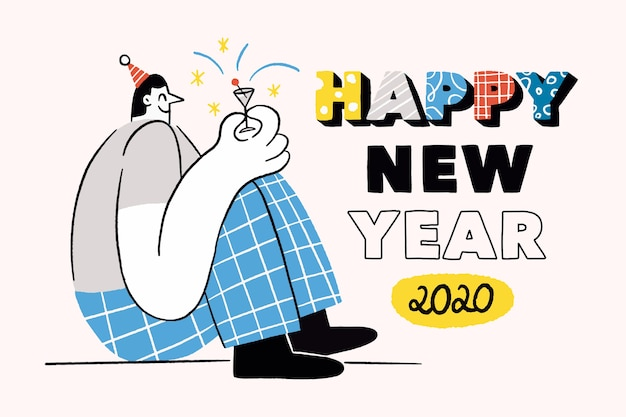 Papier peint du nouvel an 2020 dessiné à la main