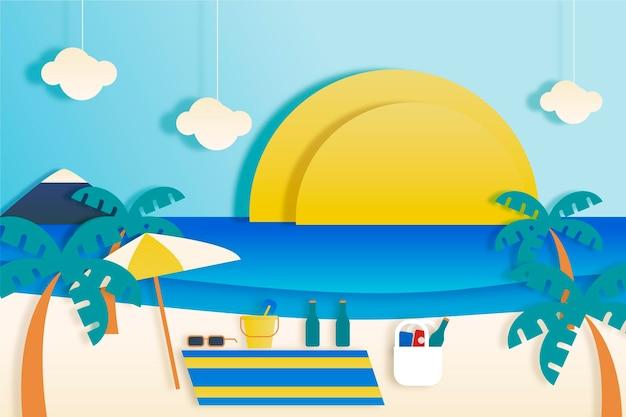 Papier peint d'été dans le concept de style papier