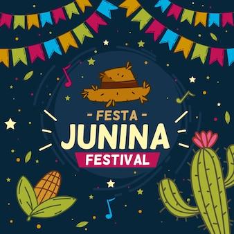 Papier peint festa junina dessiné à la main