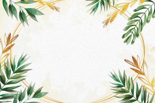 Papier peint feuilles avec style feuille métallique