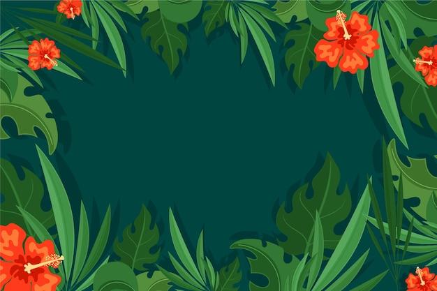 Papier peint feuilles tropicales pour zoom