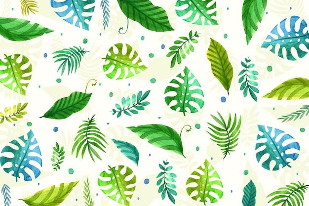 Papier peint feuilles tropicales répétées