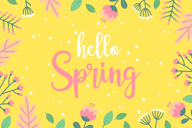Papier peint fleuri bonjour printemps