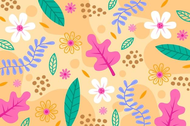 Papier peint floral abstrait plat