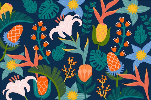 Papier peint floral exotique coloré