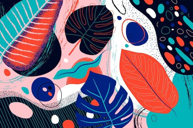 Papier peint floral plat abstrait