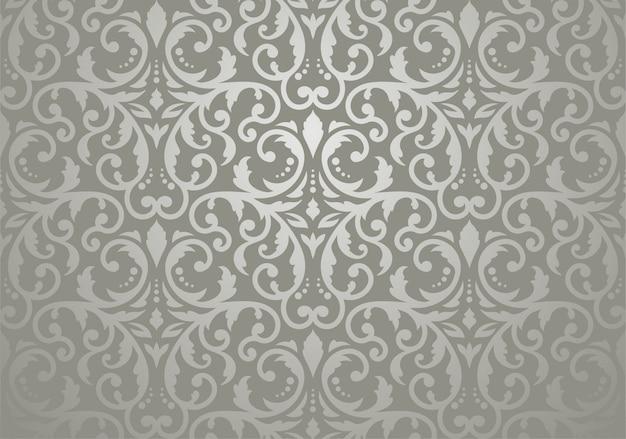 Papier peint floral vintage argenté