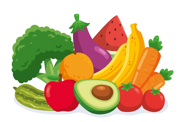 Papier peint à fruits et légumes multiples