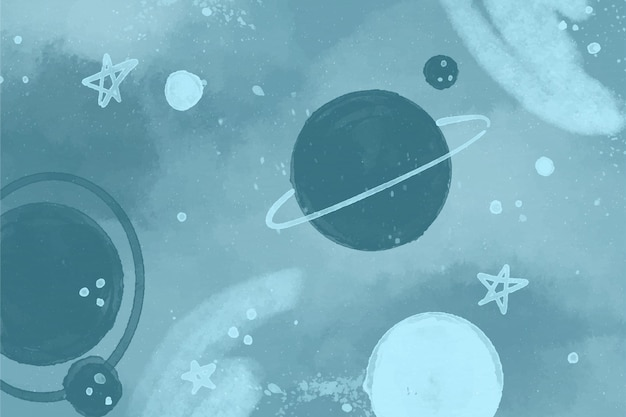 Papier peint galaxie aquarelle monochrome