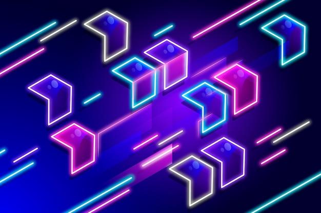 Papier peint géométrique néon
