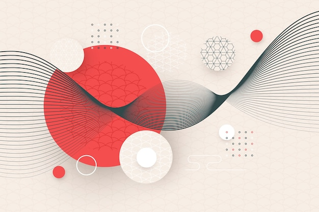 Papier peint géométrique de style japonais