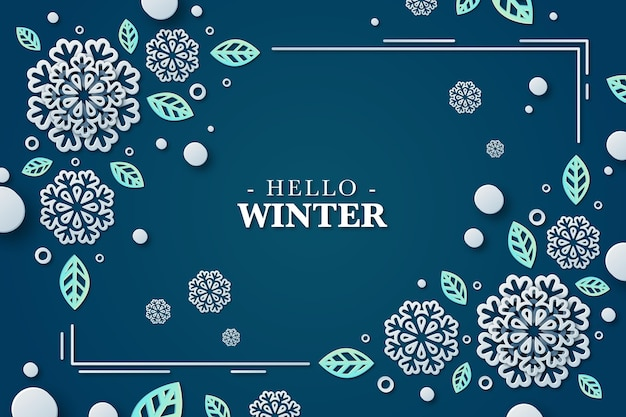 Papier peint d'hiver en style papier avec des flocons de neige