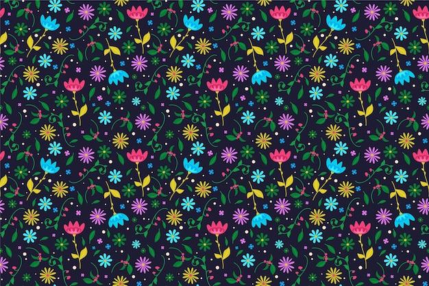 Papier peint imprimé de fleurs colorées
