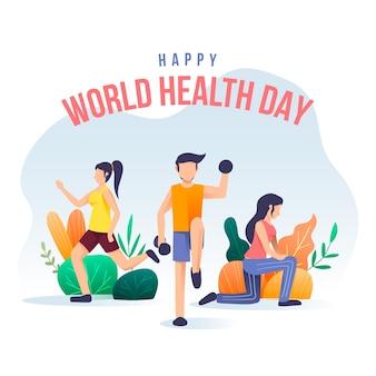 Papier peint de la journée mondiale de la santé dessiné à la main