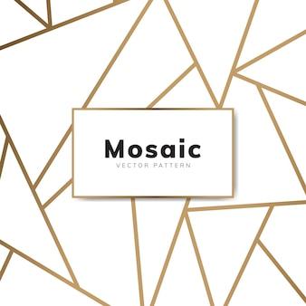 Papier peint mosaïque moderne en blanc et or