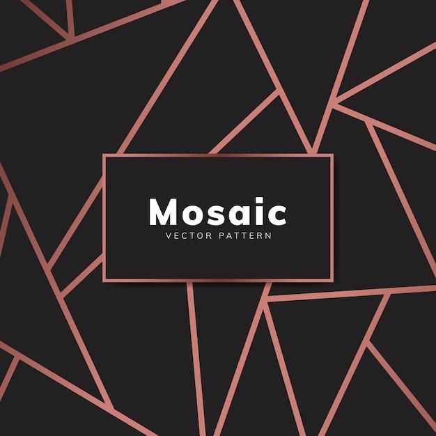 Papier peint mosaïque moderne en or rose et noir