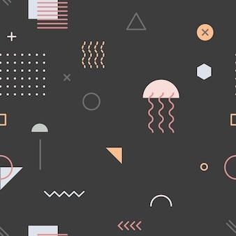 Papier peint motif memphis noir