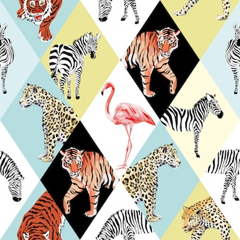 Papier peint motif sans soudure animaux tropicaux patchwork et oiseau multicolore