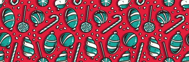 Papier peint à motifs avec des boules de noël ou une sucette