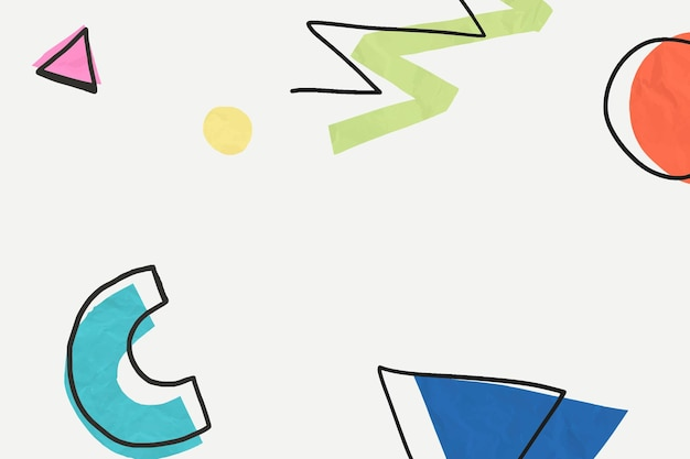 Papier peint à motifs dessinés à la main memphis coloré mignon
