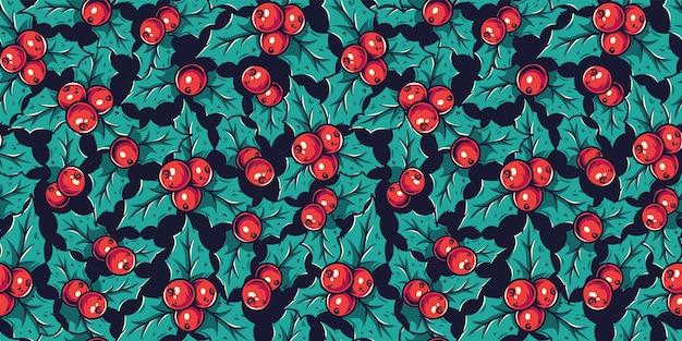 Papier peint à motifs avec le houx du nouvel an ou de noël