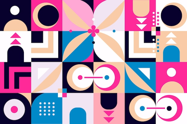 Papier peint mural géométrique aux couleurs vives