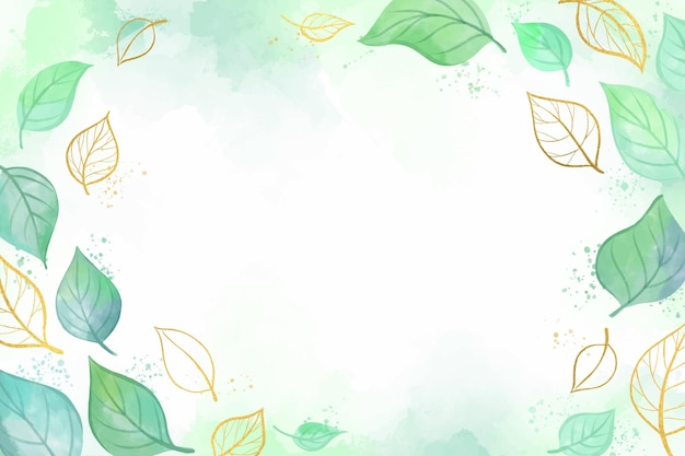 Papier peint nature avec feuille d'or