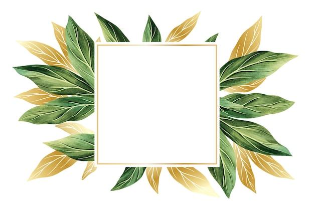 Papier peint nature avec motif feuille d'or