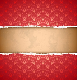 Papier peint ornemental rouge déchiré