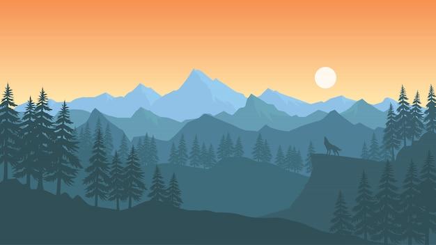 Papier peint paysage au design plat