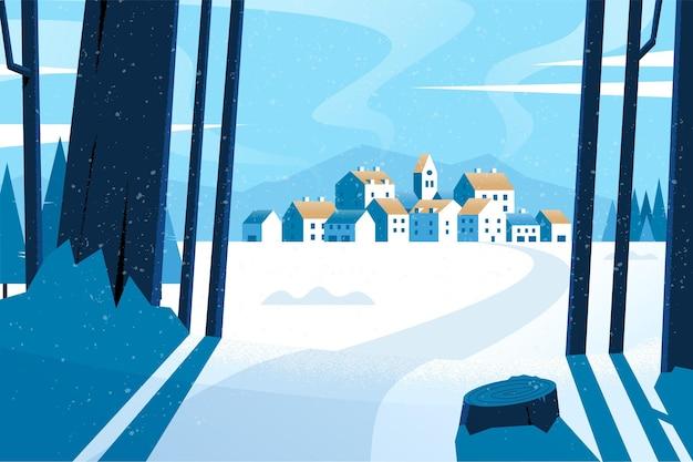 Papier peint paysage d'hiver design plat
