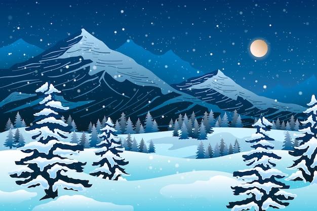 Papier peint paysage d'hiver froid dessiné