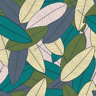Papier peint plante exotique dessiné à la main