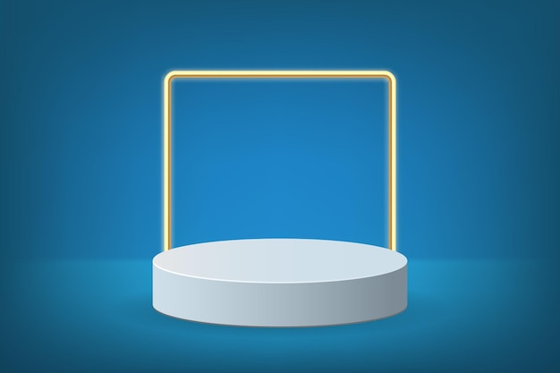 Papier peint podium bleu avec carré d'or