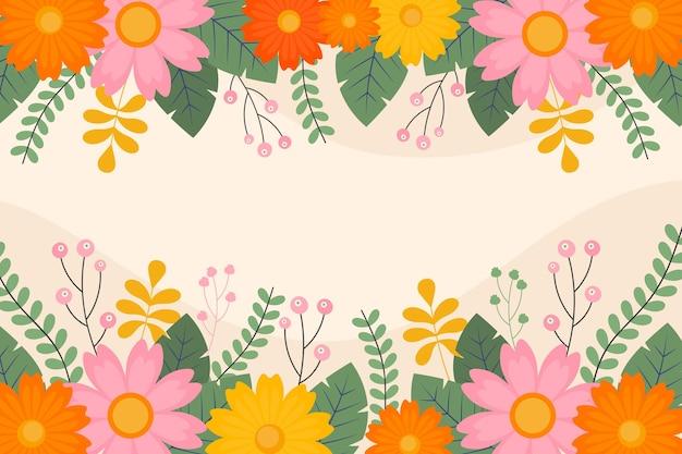Papier peint printemps design plat