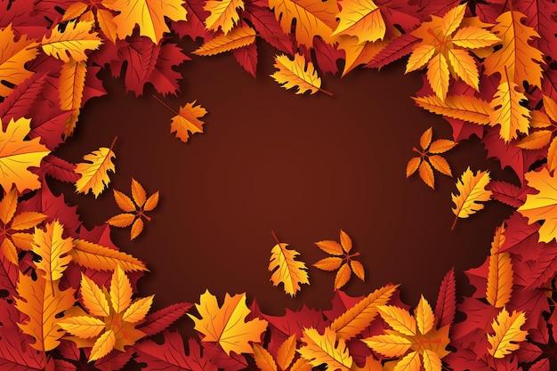 Papier peint réaliste de feuilles d'automne