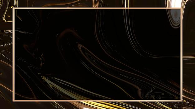 Papier peint rectangle cadre fluide doré
