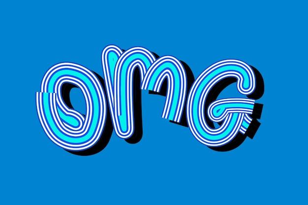 Papier peint rétro typographie bleue omg