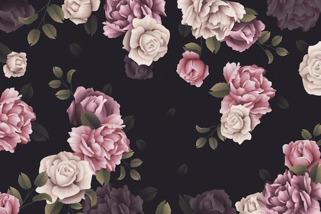 Papier peint roses aquarelle