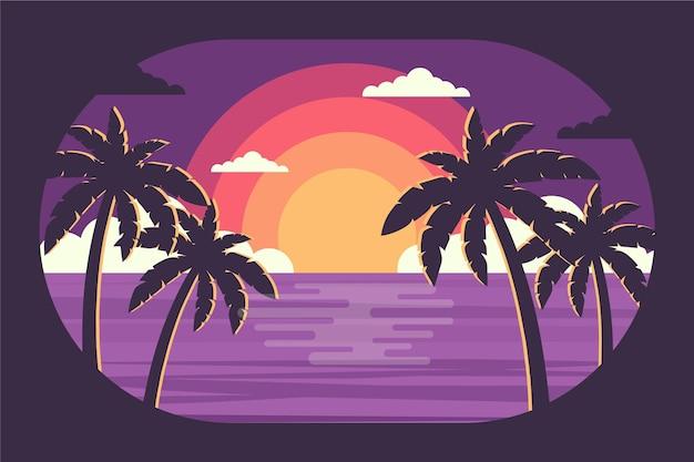 Papier peint silhouette palmier