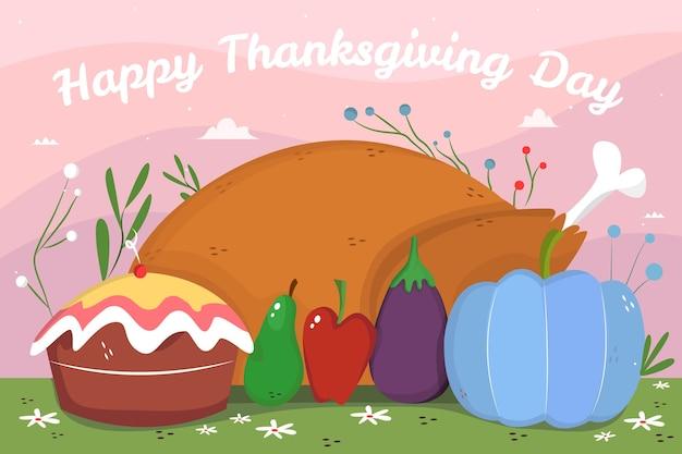 Papier peint thanksgiving dessiné à la main avec de la nourriture