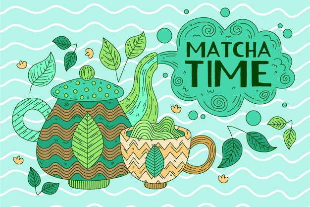 Papier peint thé matcha