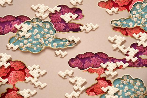 Papier peint traditionnel chinois avec décorations florales et nuages